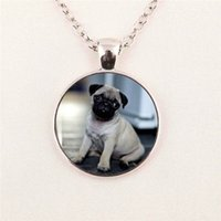 Wholesale Personalized Dog Jewelry - free shipping Wholesale Two Dogs Necklace Pendant Art Glass Necklace Personalized Picture pendant jewelry glass gemstone necklace 224