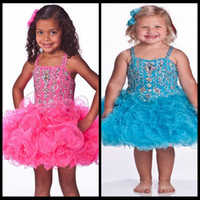 Wholesale Mini Skirt Girls Color Brown - 2015 Fantastic Short Pageant Gowns for Girls Pink Blue Ruffles Skirt Spaghetti Straps Short Mini Crystal Beaded Glitz Cupcake Pageant Dress