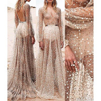 Wholesale Low Cut Maxi Party Dresses - Kim Kardashian Sexy Sequined Low Cut Hollow Out Paty Dress Perspective Sequin Off Shoulder Halter Sleeveless Ankle Length Party Dress PF-033