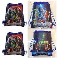 Wholesale Cheap Children Bags Wholesale - 60pcs The Avengers 2 Age of Ultron 2015 New children backpacks the avengers alliance boy non-woven drawstring bags school bag cheap 201505HX