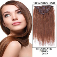 "Wholesale Chocolate Indian Remy Hair - Best selling 16"" 18"" 20"" 22"" 26"" 70g 100g 120g 160g Remy Clip in Human hair extension Color #06 chocolate brown free shipping"