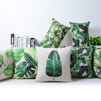 Wholesale tropical rainforest cushion cover green jungle plant throw pillow case banana leaf leaves cojines home decor