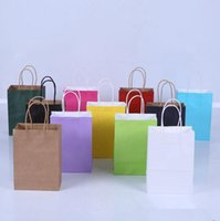 Wholesale Paper Recyclable Packing Bag - Brown Kraft Paper Bags 21*11*27cm Colorful Shopping Pouch Party Bags Portable Recyclable Gift Bags Packing Bag 11 Colors OOA3471