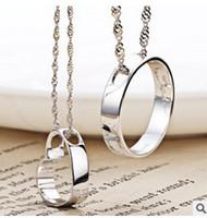 coeur pendentif coréen achat en gros de-925 Sterling Silver Heart pendentif coréen amateurs masculins cercle bord concentrique femelle en forme de coeur pendentif collier pendentif rond bijoux ensemble