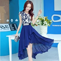Wholesale Blue White Dress Porcelain - Summer dongguan_wholesale new lady women dress blue and white porcelain long dovetail v-neck slim short sleeve casual chiffon dress vestidos