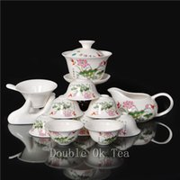 Wholesale-14pcs Chinese Flower Paintings Porzellan Gongfu Tee-Set 1 Ceramic Gaiwan 8 Bone China Tea Cups Service Für Teezeremonie Artikel