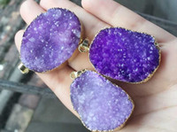 Wholesale Crystal Geode Pendant - Fashion HOT 6pcs Gold plated Purple Nature Quartz Druzy Geode pendant, Drusy Crystal Gem stone connector Beads, Jewelry findings