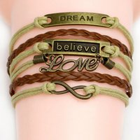 Wholesale 54 different styles Charm Bracelets double heart owl lovely bracelets antique Love Leather charm bracelets