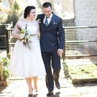 Wholesale Bride Dress 22 - Plus Size Lace Tea Length Wedding Dresses with Half Sleeves Vintage Tulle A Line Bride Dress Cheap 2015 Sale Size 22