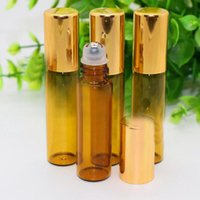 2018 Atacado 5ml Amber Glass Essential Oil Roller Ball Garrafas Pequeno Round Glass Roll on Bottle Com Gold / Black Lid