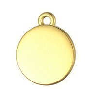 Wholesale Charm Discs - Fitness 50pcs a lot Zinc Alloy Antique Silver&Gold Floating Blank Stamping Tags Round Disc Pendant Charms For Living Locket DIY Jewelry