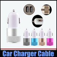 Wholesale Dual Car 1a - Universal Car Charger Metal Alumium Alloy Dual USB Port Car Charger 2.1A+1A For iPhone 4s 5 5s 6s Plus iPad mini Galaxy S5 S6 HTC LG 100pcs