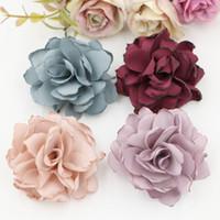 Wholesale Burns Wedding - 2017 New Arrival 30pcs  Lot Burned Satin Flower Handmade Flower Hair Flowers Headwear Wedding Flower For Boutique Hair Accessories