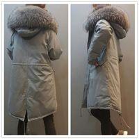 Wholesale Low Price Fur Coats - Low price wholesale 2018 New Winter Women Raccoon Fur Jacket Large Fur Collar Hooded Parkas Cotton Warm Parka Overcoats Women Winter Coat