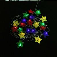 decoração ao ar livre luzes estrelas venda por atacado-Modelagem luz Da Corda 4 M colorido Rattan Estrela luzes da corda 110 v 220 v 2 w para ao ar livre no interior da árvore de natal luzes da decoração de natal