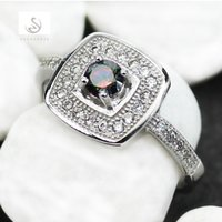 Wholesale mystic topaz stones - Casual Fashion White Cubic Zirconia and Rainbow Mystic Topaz Cubic Zirconia Micro inlays jewelry Silver Plated RING R3148 sz#6 7 8 9