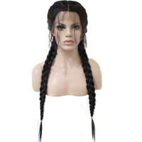 Wholesale Ponytail Synthetic - Z&F Human Lace Front Wig 26 inch Black Braid Wig 360G Braided Wigs Curly Double Ponytail Synthetic Lace Front Wigs Afro
