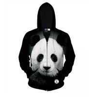 Wholesale Men Panda Suits - 3d Animal Panda Pattern Zipper Hooded Harajuku Casual Sweatshirt Sport Suit Men's Tops Personalized Sportswear Hoodies Tracksuit