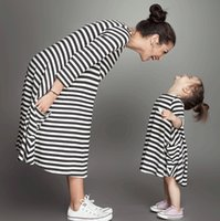 Wholesale Straight Maxi Dress - 2015 Mother And Daughter Stripe cotton dress Kids girls Long sleeve princess maxi dress babies children's autumn clothes