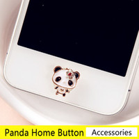 Wholesale Home Button Sticker Iphone Cute - Wholesale-Super Cute Crystal Flowers Panda Home Button Stickers for Iphone DIY Phone Decoration Jewelry Wholesale Free Shipping