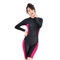 Wholesale One Piece Swimsuits Collars - 2016 New Women Wetsuit Long sleeve Zipper swimsuit Round collar Sexy lady One Pieces swimwear Girl wetsuit Diving Swimming suit
