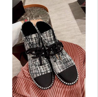 Wholesale Ankle Toe Jewelry - 2018 spring fall Womens twotone Black satin with tweed real Leather luxury pearl jewelry Embellished cap toe lace up flat platform boots