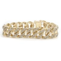 Mens Solid 10K Yellow Gold Miami Cuban Curb Link 5.08ct Pulseira de diamante 15mm 7