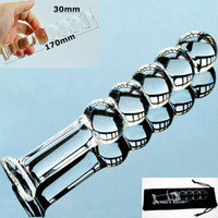 Wholesale Male Dildos - w1031 5 balls pyrex glass crystal dildos fake penis Anal beads butt plug Sex toy for women men Adult male female masturbation products