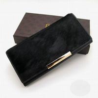 Wholesale Beautiful Women Photos - New Design Cowhide+Horsehair Fashion Women Money Bag Man Wallet Beautiful Portable Purse With Gift Box Packing