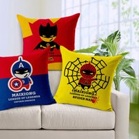 Wholesale Batman Car Seat - Captain American Spiderman Batman Cushion Cover Square Coussins Decoratif Pillow Cover Almofada Decorativa Pillow Case for Sofa Car Seat