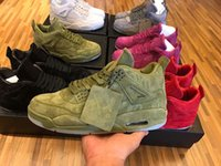 Wholesale Glow Dark Body - 2018 With Box Mens New Retro KAWS x Air Retro 4 Red Green Grey Purple Suede Glow in dark Basketball Shoes Sneakers Outdoor Athletics Shoe