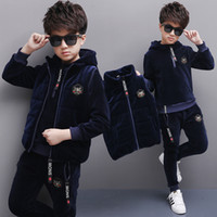 Wholesale Boys Choice - Boys Clothing Sets Autumn Sweater+Pants Suits Big Boys Long Trousers Pullover Jackets+Pants three pcs Kids three Colors for Choice Coat