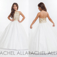 Wholesale rachel allan for sale - 2017 RACHEL ALLAN Girls Pageant Dresses with Gold Rhinestone Halter Tulle Floor Length Ball Gown Flower Girls Dresses BA0254