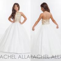 halter tül küçük kız elbisesi elbise toptan satış-Altın Rhinestone ile küçük Kızlar Pageant elbise Halter Tül Kat Uzunluk Balo Çiçek Kız Elbise