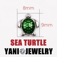 Wholesale Sea Turtle Charms Wholesale - Green Sea Turtle Alloy Floating Charm DIY Animal Charms for Living Memory Glass Locket DIY Bracelet Necklace