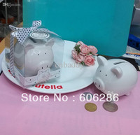 Wholesale Ceramic Baby Favors Wholesale - Baby Shower Favors Ceramic Mini Piggy Bank saving Box in Gift Box with Polka-Dot Bow Wedding giveaways gifts 50pcs wholesale