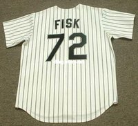 Personalizzato CARLTON FISK Chicago White Sox 1993 Majestic Throwback Home Baseball Jersey Retro Mens Jerseys