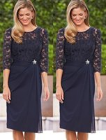 Wholesale Nek Dresses - Dark Blue Mother Of The Bride Dress Knee Length Scoop Nek 3 4 Sleeves Picks-up Sheath Mother Of The Pant Suits Formal Party Gowns