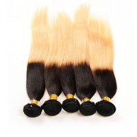 10-30 '' Double Wefted 1B / 613 Ombre Silky Straight Brazilian Hair Bundle, Zwei Tone Dip-gefärbt Ombre Remy brasilianischen Straight Human Hair Weaves