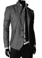 Wholesale Korean Suit Slim Fit Men - Free shipping New arrivel causal jackets fashion blazer slim fit New Korean collar asymmetrical design tide men suit XX308F