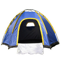водонепроницаемая всплывающая палатка оптовых-Wholesale- Waterproof Hexagonal Large Camping Hiking Pop up Tent Outdoor Base Camp Blue Picnic Beach