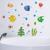 Cheap Small Fish Bathroom Wall Sticker impermeável Home Decor Pool Wall Decal Toilet Mural para bebê Kids Room House Vinyl xy3001
