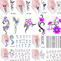Wholesale Full Nail Foils - Wholesale-50pcs 2015 50 designs Elegant Women Nail Art Water Stickers Decals 3d DIY Full Wraps Foils Decorations Flower Vine XF1422-1469