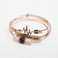 Wholesale cupids arrow jewelry for sale - Group buy Follow Your Heart Bracelet Gold Silver Cupid Arrow Cuff Bangle Bracelet Natural Crystal Stone Bracelets Fashion Jewelry