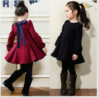 Wholesale Sweet Bowknot Dress - Hot Sale Good quelity Girls Winter Dresses Sweet Autumn&Winter Long-sleeve Children Bowknot Dress For Party Kids Clothing