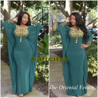 Wholesale Dress Prom Swarovski - Dark Green Morrocan Kftan Dubai Evening Dress Gold Swarovski Beads Rhinestones Long Sleeves Turkish Formal Prom Dresses 2016 Vestidos noche