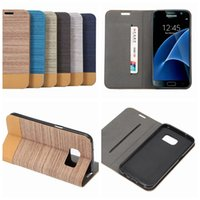 Wholesale Stripped Iphone Case Tpu - For Galaxy s8 S7 Edge S6 Iphone 6 6S Plus Wood Cloth Hybrid Glitter Wallet Leather Vertical Strip Purse Snake Flip Credit Card Pouch Cover
