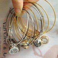 Wholesale Alex Ani Bracelet Gold - Newest!20mm Floating Locket Bracelets Crystal Charms Glass Locket Bracelet Alex and Ani Locket Bracelet Bangles Gift