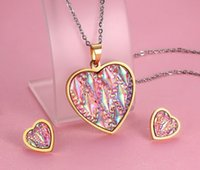 Wholesale Stone Shell Necklace - Brand New Gold Stainless steel Ladies Heart Shape Necklace Pendant Earring Studs Jewelry Set Shining Pink Shell Resin Stone