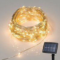 Wholesale White Christmas Trees Foot - 150 LED 72 Feet LED Solar Powered String Light 2 Modes Steady on Flash Starry Silver Copper Wire Light Solar Fairy String Light MY4KEYPZVV